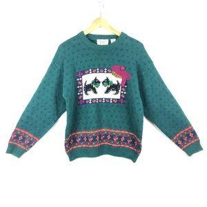 VINTAGE Knit Scottie Dog Sweater Hand Embroidered